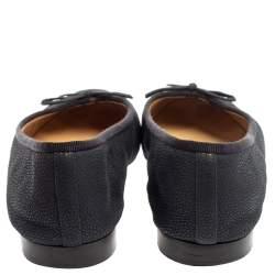 Chanel Blue/Black Leather CC Cap Toe Bow Ballet Flats Size 37.5