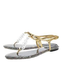 Chanel Gold Leather Plastic Chain Detail Ankle Strap Thong Flat Sandals Size 41