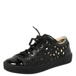 Chanel Black Floral Cutout Leather CC Low Top Sneakers Size 39