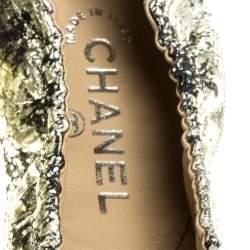 Chanel Gold/Black Leather CC Scrunch Ballet Flats Size 39