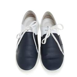 Chanel Blue/White Leather Lace Up Sneakers Size 39