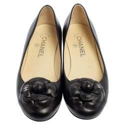 Chanel Black Leather CC Camellia Ballet Flats Size 37.5