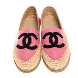 Chanel Pink Leather Greek Summer CC Raffia Flats Size 39