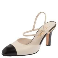 Chanel Off White/Black Leather CC Cap Toe Ankle Strap Sandals Size 36