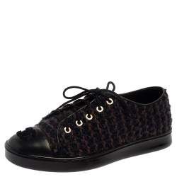 Chanel Multicolor Tweed And Leather CC Cap Toe Low Top Sneakers Size 36.5