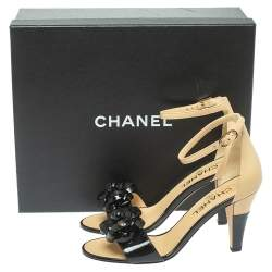 Chanel Black Patent Leather Camellia Ankle Strap Sandals Size 37