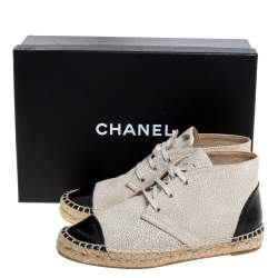 Chanel White/Black Textured Leather CC Cap Toe High Top Espadrille Sneakers Size 36