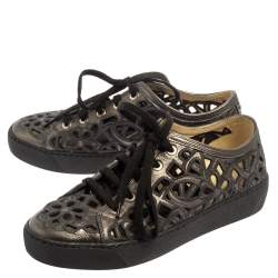 Chanel Dark Grey Floral Cutout Leather CC Low Top Sneakers Size 35.5