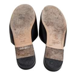 Chanel Black Leather Camellia Sandals Size 36.5