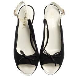 Chanel Black Canvas Bow Slingback Platform Sandals Size 38.5