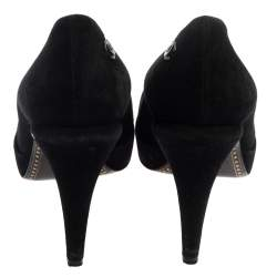 Chanel Black Suede and Patent Leather Cap Toe CC Pumps Size 40