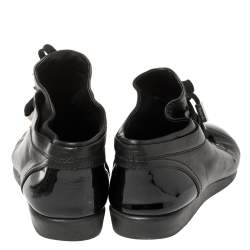 Chanel Black Leather and Patent Leather Cap Toe CC Sneakers Size 41
