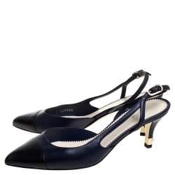 Chanel Navy Blue/Black Leather Cap Toe slingback Sandals Size 38