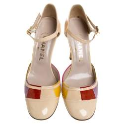 Chanel Multicolor Patent Leather D'orsay Colorblock Ankle Strap Pumps Size 38