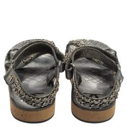 Chanel Metallic Silver Leather Chain Embellished Ankle Strap Flat Sandals Size 38