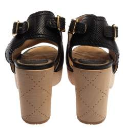 Chanel Black Perforated Leather CC Slingback Clog Sandals Size 38