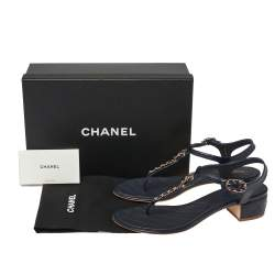 Chanel Blue Leather Chain Link T Strap Thong Sandals Size 41.5