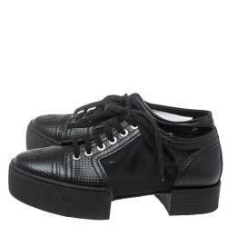 Chanel Black Leather And Mesh Platform Low Top Sneakers Size 36