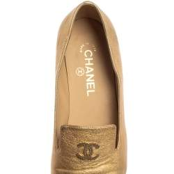Chanel Metallic Gold Leather CC Embellished Loafers Size 39