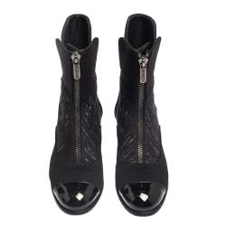 Chanel Black Tweed and Patent Leather CC Ankle Boots Size 39