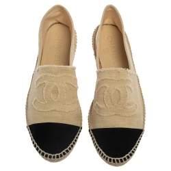 Chanel Beige/Black Canvas CC Cap Toe Espadrille Flats Size 41