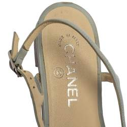 Chanel Blue Leather Camellia Thong Sandals Size 40
