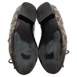 حذاء باليرينا فلات شانيل جلد وتويد رصاصي بفيونكة مقاس 35