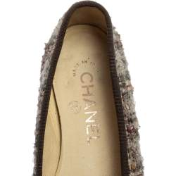 Chanel Grey Tweed and Leather CC Bow Cap Toe Ballet Flats Size 35