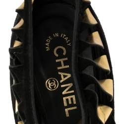 Chanel Black/Gold Suede Leather CC Strappy Wedge Sandals Size 39.5
