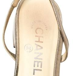 Chanel  Gold/Black Leather And Canvas CC Slingback Flats Size 38