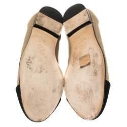 Chanel Black/Beige Fabric CC Cap Toe Ballet Flats Size 39