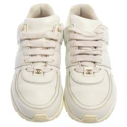 Chanel White/Gold Leather CC Low Top Sneakers Size 38