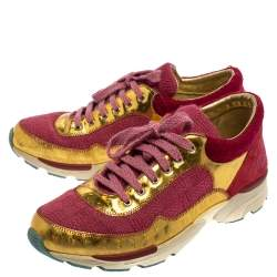 Chanel Pink/Gold Tweed and Patent Leather  CC Sneakers Size 39