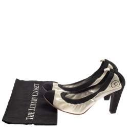 Chanel Silver/Black Fabric And Suede CC Spirit Pumps Size 40.5