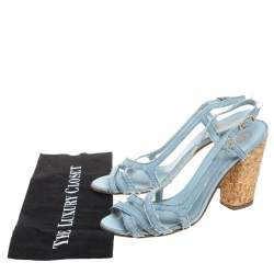 Chanel Blue Fabric  Slingback Sandals Size 41