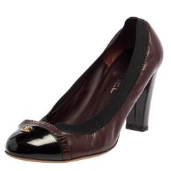 Chanel Black/Burgundy Patent And Leather Scrunch Pumps Size 38