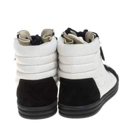 Chanel White/Black Suede And Canvas CC High Top Sneakers Size 40.5