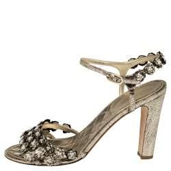 Chanel Gold Leather Camellia Embellished Sandals Size 41