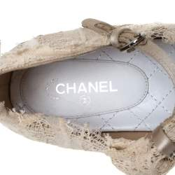 Chanel Cream Lace Pointed Toe Ballet Flats Size 40.5