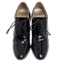 Chanel Black Patent Leather CC Lace Up Derby Ankle Booties Size 40