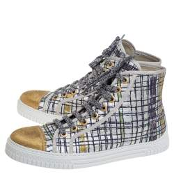 Chanel Multicolor Brocade Fabric And Gold Lame CC Cap Toe High Top Sneakers Size 39
