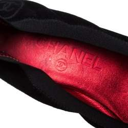 Chanel Two Tone Suede And Coarse Glitter Cap Toe Scrunch Ballet Pumps Size 38.5