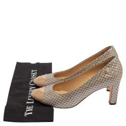 Chanel Multicolor Iridescent Mesh And Shimmering Leather CC Cap Toe Pumps Size 38