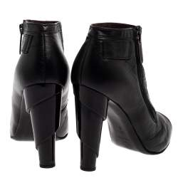 Chanel Black Quilted Leather Ankle Booties Size 39.5