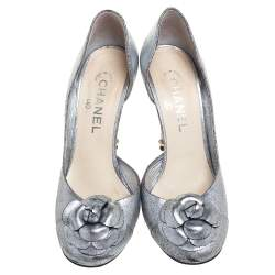 Chanel Metallic Silver Textured Leather Camellia D'orsay Pumps Size 39.5