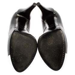 Chanel Black/Silver Leather CC Cap Toe Platform Pumps Size 38.5