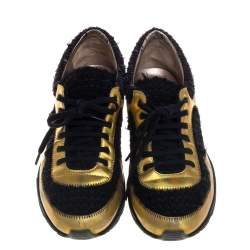 Chanel Multicolor Tweed Fabric And Leather CC Lace Up Sneakers Size 38.5
