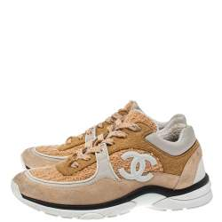 Chanel Multicolor Fabric, Nylon And Suede Low Top CC Sneakers Size 39