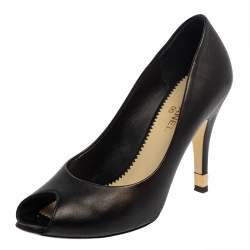 Chanel Black Leather CC Heel Peep Toe Pumps Size 37.5