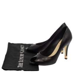 Chanel Black Leather CC Heel Peep Toe Pumps Size 37.5